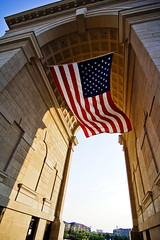 Millennium Gate - Atlanta GA (RMac_Photography) Tags: monument architecture america wow d50 geotagged amazing cool nikon gate unitedstates wind flag patriotic millennium american tribute 12mm patriot atlanticstation 2008 redwhiteandblue rmac neoclassic millenniumgate