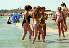 At Dostar beach (Anastassiya Bergem) Tags: sea summer people beach legs watermelon bikini kazakhstan люди ноги море пляж арбуз aktau казахстан dostar актау достар