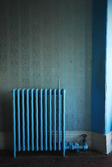 Heat (these are only words) Tags: blue wallpaper house ontario canada abandoned wall iron empty cast precious heat radiator baseboard theseareonlywords