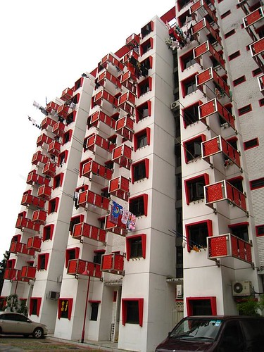 Block of HDB Flats at the carpark near Singapura Seafood Restaurant