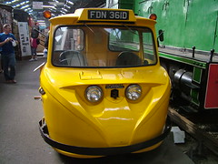 Yellow vehicle in Bo'ness Steam Museum (friskierisky) Tags: man guy museum scotland ray photographer railway vehicle past steamengine picturetaking oldtrain carriages rollingstock insidetrain beforerestoration oldlocomotive yellowtransport