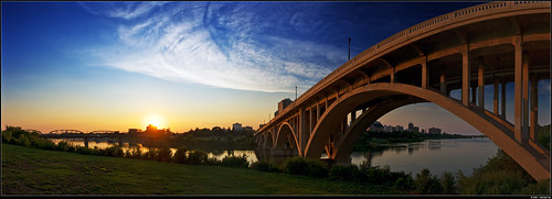 Saskatoon's Broadway Bridge at sunset