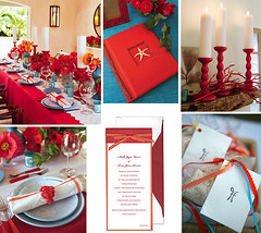 July Birthday Dinner (Tastefully Entertaining) Tags: red teal decor placesetting invitations favors entertaining guestbook birthdaydinner centerpieces tablesettings tastefullyentertaining