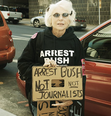 Arrest Bush NOT Journalists (aReasontoHope) Tags: street woman signs minnesota st lady paul bush power side national age convention older strength republican protesters arrest journalists opinion