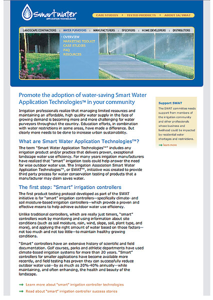 Microsite for Irrigation Association Smart Water Application Technologies (SWAT) by tenfour archive