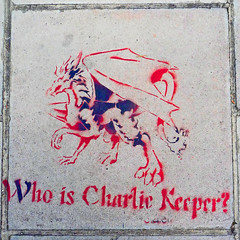 Who is Charlie Keeper? (gorgeoux) Tags: uk blue red horse london sign graffiti dragon pavement hammersmith sidewalk charlie squared teaser keeper