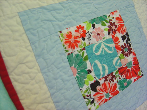 Birds & Blooms baby quilt detail