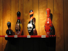 Art bowling pins: Duck, Dude, Skulls and Bullgod