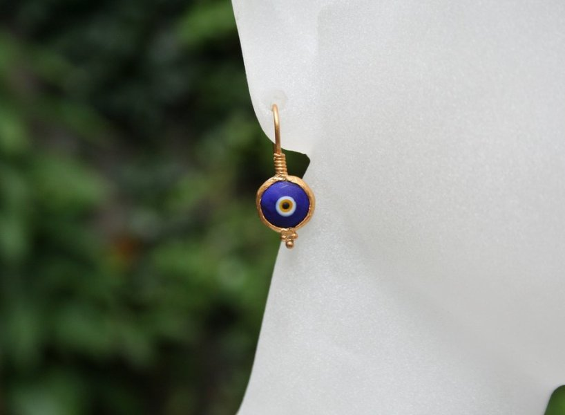 24K Evil Eye Earrings