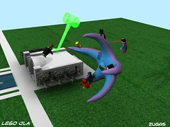Lego JLA vs Starro (Zugas) Tags: america hall justice dc 3d ray lego maya modeling autodesk flash superman wonderwoman comicbook batman dccomics greenlantern 2008 league cgi superfriends mental aquaman jla martianmanhunter legomodel legobatman braveandthebold starro legosuperhero legohero legocomicbook 3dlego