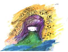 pajaros en la cabeza (alterna ) Tags: natalia boba acuarela nati dibujos ilustracion ilustraciones tecnica alterna mixta alternativa muymixta alternaboba