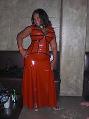 Red Latex Gown (Blkvelvet99) Tags: beautiful women bondage latex corset domme dominatrix scc bigboobs