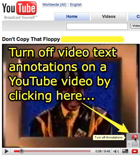 Turn off video text annotations on a YouTube video by clicking here...