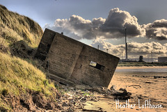 what happens when the tide comes in (Flamelillyfox) Tags: abandoned industry coast industrial decay wwii shore landslide teesside hdr tees southgare machinegunpost