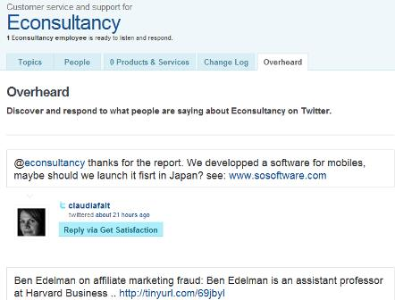 Get Satisfaction Twitter monitoring