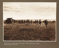 Reserves passing through the tracks near Guillemont Farm (National Media Museum) Tags: soldier tank mask farm wwi worldwari worldwarone soldiers greatwar firstworldwar reserves armisticeday thegreatwar frankhurley guillemont armoredwarfare armouredwarfare guillemontfarm