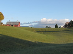 Morning has Broken ([-Sherri-]) Tags: morning blue red sky green clouds barn square landscape countryside nuvole farm country explore ciel pasture westvirginia cielo barnyard sherri matin mattina naturesfinest questa marlinton mywinners holidaysvacanzeurlaub theunforgettablepictures theperfectphotographer sbystrow provacrop
