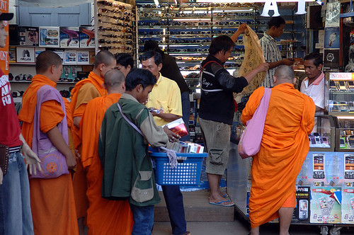 Monks stock up on life's essentials - click to see full-size photo