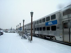 Westbound Metra / Union Pacific, West line commuter local. Elmhurst Illinois. Febuary 2007.