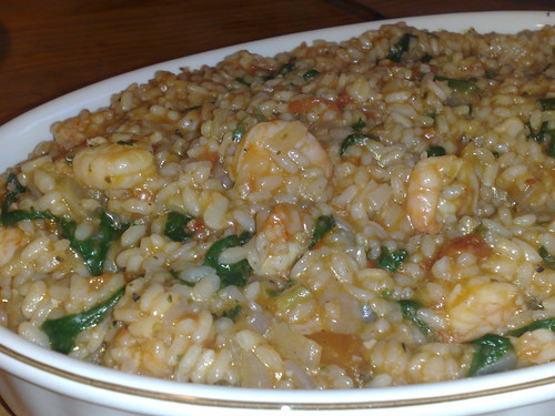 Garlic prawn and spinach risotto