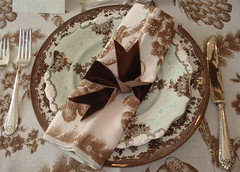 Thanksgiving Place Setting (such pretty things) Tags: china thanksgiving roses brown white holiday silver table ruffles velvet ribbon anthropologie tablecloth decor placesetting toile transferware