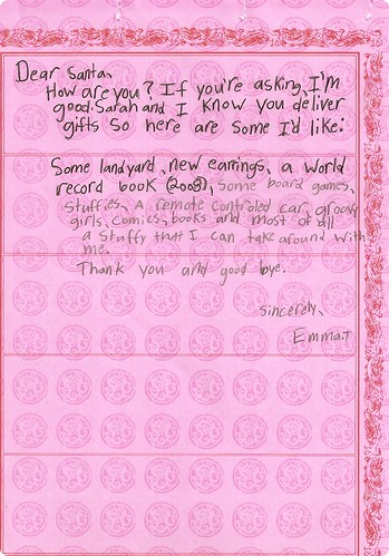 Emma's letter to Santa - Christmas 2008