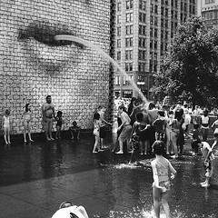 Crown Fountain 1 (streetlevel_photography) Tags: street chicago getty kodaktrix canonp thedefiningtouch cv35mmf17ltm