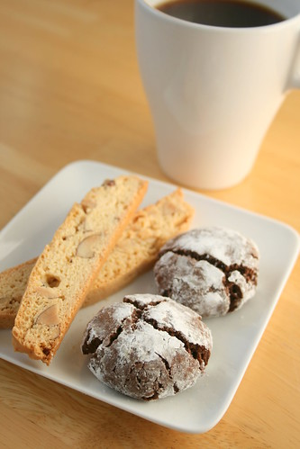 Almond Biscotti and Chocolate Crinkle Cookie