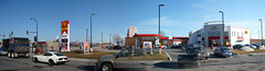 A McDonald's with an attached Petro-Canada station. (Steve Brandon) Tags: urban autostitch panorama canada cars church sign logo geotagged restaurant highway nissan montral quebec montreal basilica widescreen fastfood frites frenchfries gasstation cheeseburger qubec hamburger signage autos bigmac glise automobiles petrocanada goldenarches voitures servicestation mcdo fairlady harveys petrolstation tmr franchise cdn datsunz  fillingstation ctedesneiges  highway15  decarie  jeepgrandcherokee serviceroad saintjosephsoratory    nissanfairladyz datsun240z townofmountroyal  autoroutedcarie dcarieexpressway    loratoiresaintjosephdumontroyal decarieboulevard boulevarddcarie  dcarieboulevard ruepar parstreet dcarieautoroute  autoroute15mcdonalds