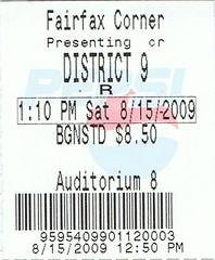 District 9 ticketstub