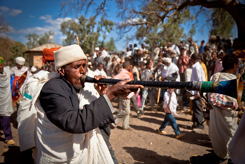 priests and pilgrims celebrates the festival Hosanna (Palm Sunday) in Axum. etiopia by ronnyreportage