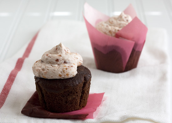 Chocolate Cupcakes with Raspberry-Peach Champagne Frosting