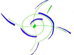 imagem rabiscada numa toalha de mesa simbolizando uma rede com tendências espiraladas