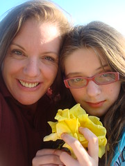 Emma and Mommy and the Yellow Rose (juliejordanscott) Tags: smart rose yellow leo sweet sister mommy daughter emma dramatic singer strong motherhood beloved cherished able middlechild