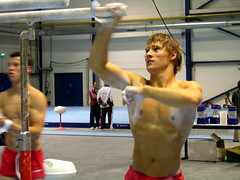 Fabian Leimlehner - training with friends (roflmeter) Tags: red shirtless male college sports muscle ripped young hunk gymnast fabian gym defined parallelbar pommelhorse highbar artisticgymnastics stillrings fabianleimlehner gmnastics leimlehner