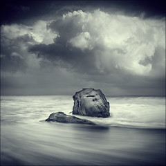 Turned to Stone (Max Ash) Tags: art water monochrome stone clouds landscape weird rocks australia chapeau plus firstquality auselite poseidonsdance