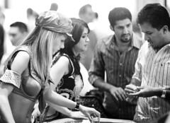 Couple of Gamblers (Thomas Hawk) Tags: vegas blackandwhite bw usa america blackwhite unitedstates lasvegas nevada unitedstatesofamerica casino pussycatdolls caeserspalace clarkcounty caesers dmumeetupvegas2008