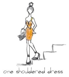 orange one shouldered dress