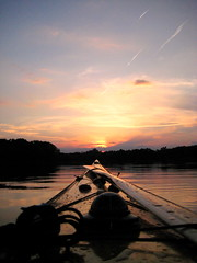 I chased the sun tonight (cedarkayak) Tags: sunset reflection water paddle explore greenland inuit seakayak summersolstice stonycreekmetropark woodboat cedarstripkayak cedarkayak