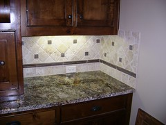 Diagonal Travertine Backsplash