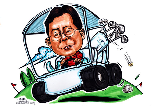 Caricature Seletar Club golf buggy