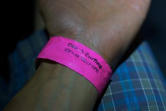 f*in' city! (Whistler Whatever) Tags: pink party ny newyork unitedstates wristband couchsurfingcom couchcrashfestival