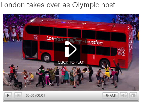 London double decker bus in Olympic Handover - BBC Screengrab