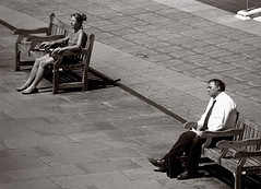 Together (cbpersel) Tags: street uk england people woman man london thames sitting benches sunbathing