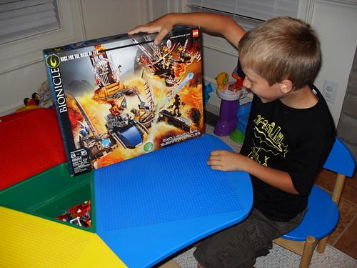 Miles opens his LEGO set