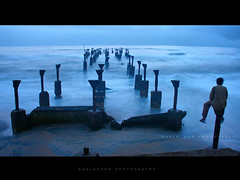 Great Expectations (harimenon4u) Tags: old bridge blue sunset sea india beach water landscape evening pier kerala shore calicut kozhikode slowhsutter