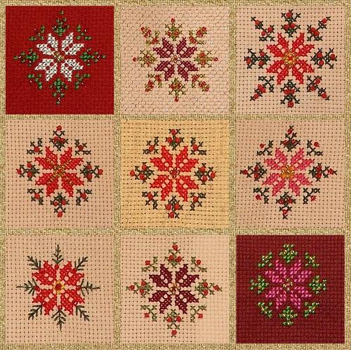 cross stitch poinsetta