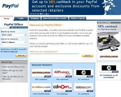 PayPal Offers homepage