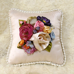 Flora Wedding Ring or Gift Pillow (D D Studio) Tags: flowers wedding leaves berries handmade pillow ringbearer rings bead ribbon wiredribbon