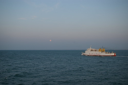 Moon rise with ferry (leaving Oostende)